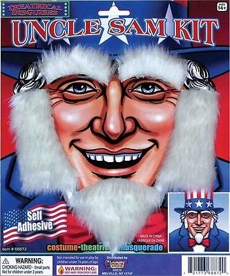 Uncle Sam Beard  Goattee Sideburns & Eyebrows Costume Kit Self Adhesive