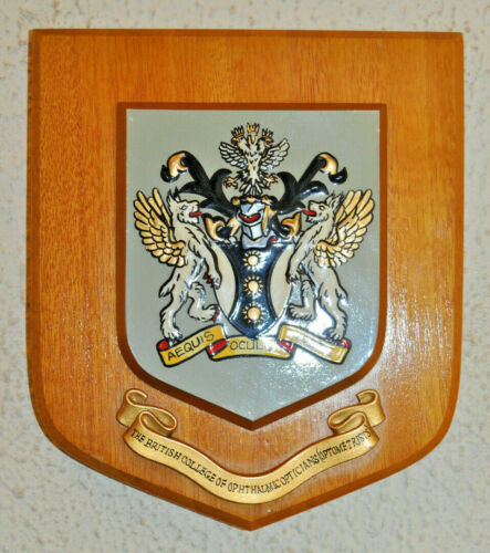 British College of Opthalmic Opticians (Optometrists) plaque shield coat of arms