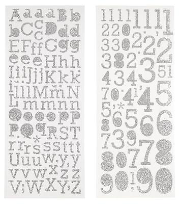 2 Bogen GLITTER-Sticker Aufkleber aus Glitterfolie BUCHSTABEN oder ZAHLEN silber (Glitter Buchstaben Aufkleber)