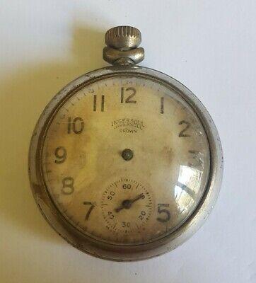 Beautiful Vintage Ingersoll Crown Mechanical Pocket Watch For Repairs