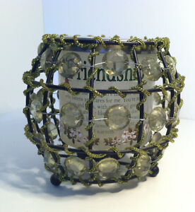 GREEN-BLACK-BEADED-TEA-LIGHT-CANDLE-HOLDER-W-GLASS-FRIENDSHIP-POEM-VOTIVE-CUP