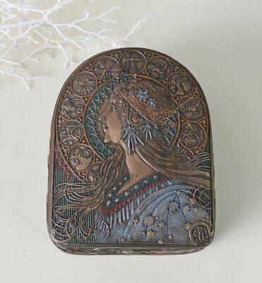 Schmuckkästchen Art Nouveau Mädchenkopf Frauenbüste Deckeldose Antik Dekobox