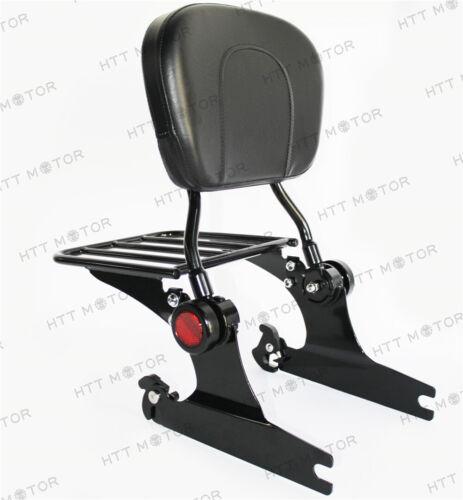 Black Adjustable Backrest Sissy Bar Luggage rack For Harley Softail 200mm 06 UP
