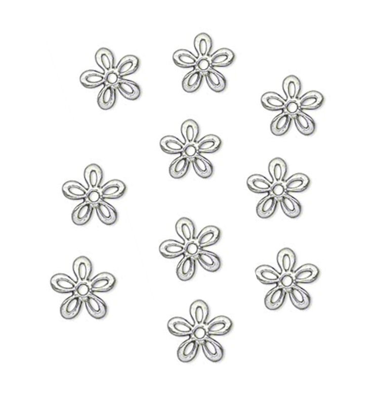 50 Antiqued Silver Plated Flower Bead Caps Fits Beads 8 - 16MM