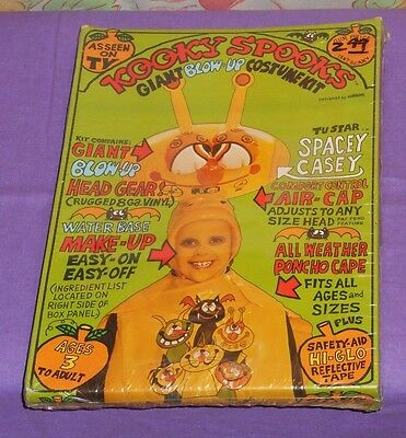 vintage KOOKY SPOOKS SPACEY CASEY blow-up Halloween costume new/sealed in box