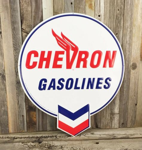 "Chevron Gasoline Gas Motor Oil Diecut Embossed Metal Tin Sign 20"" Vintage Garage"