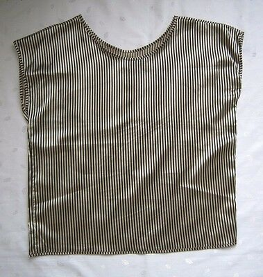 - NWOT American Apparel Black Beige Stripe Pattern Shiny Blouse Top - One Size