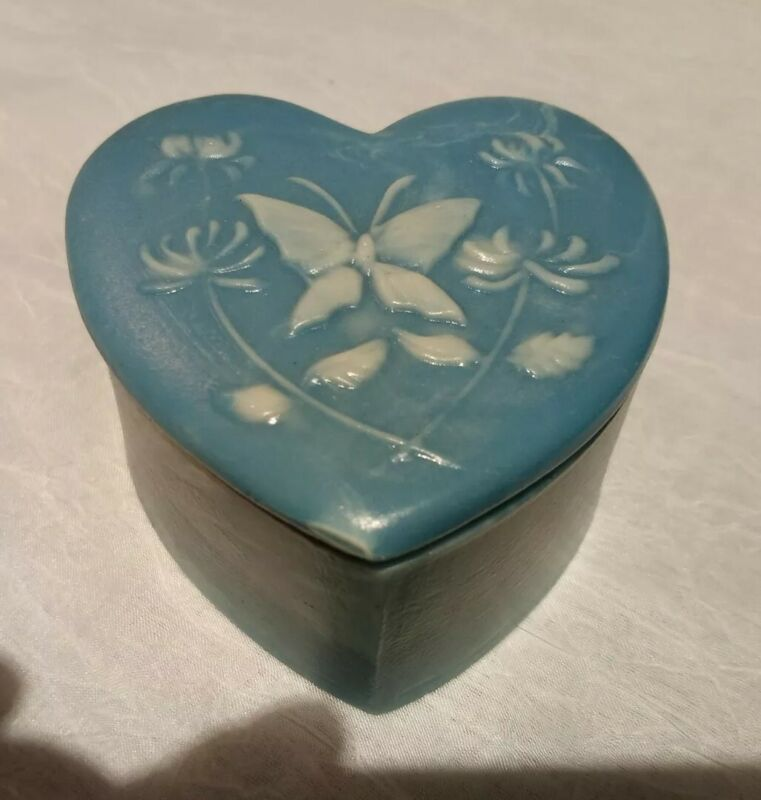 Genuine Blue Incolay Stone Jewelry Trinket Box Heart Shape, Butterfly Embossed