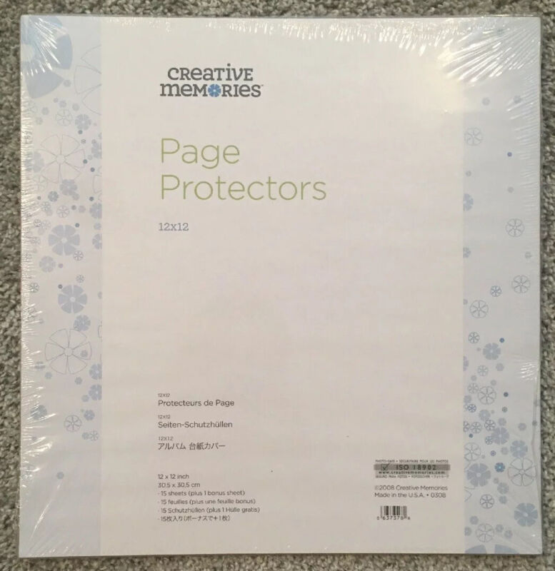 Creative Memories 12 x 12 Sealed Retired PAGE PROTECTORS - True Size - 16 Sheets