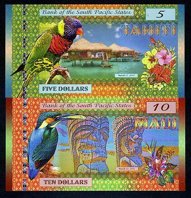 SET, South Pacific States, $5 and $10, Tahiti, Maui, 2015, Polymer, UNC