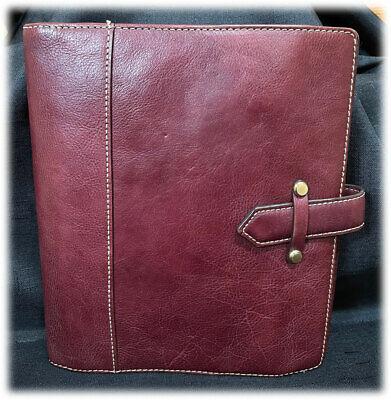 Vintage Franklin Covey Aurora Burgundy Classic Leather Planner Binder Euc
