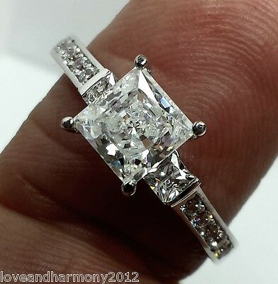 Real 14K solid White Gold Princess cut Engagement Ring