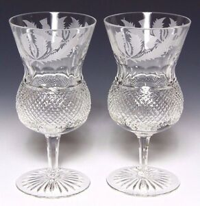 2x EDINBURGH CRYSTAL THISTLE LARGE WATER / WINE GOBLET  1ST SIGNED & PRISTINE