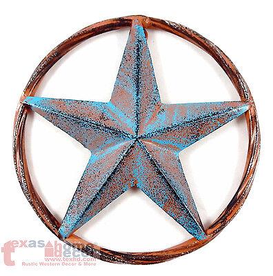 Barn Star Decor (Barn Star Rust Turquoise Rustic Tin Metal Rope Ring Texas Wall Decor 3D)
