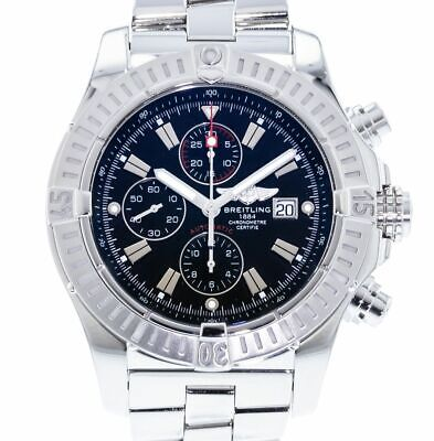 Breitling Super Avenger Men's Automatic Chronograph Watch A13370 Black Dial 48mm