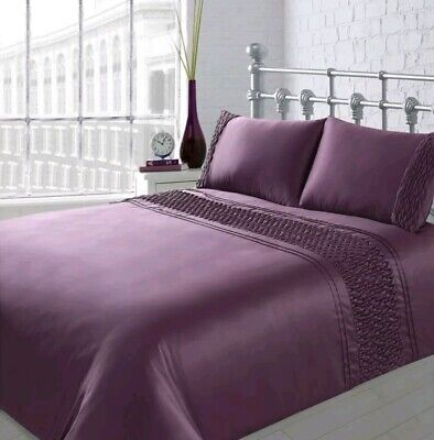 KARINA BAILEY SIENNA ROUCHED QUILTED PANEL PREMIUM DOUBLE DUVET SET(PURPLE)