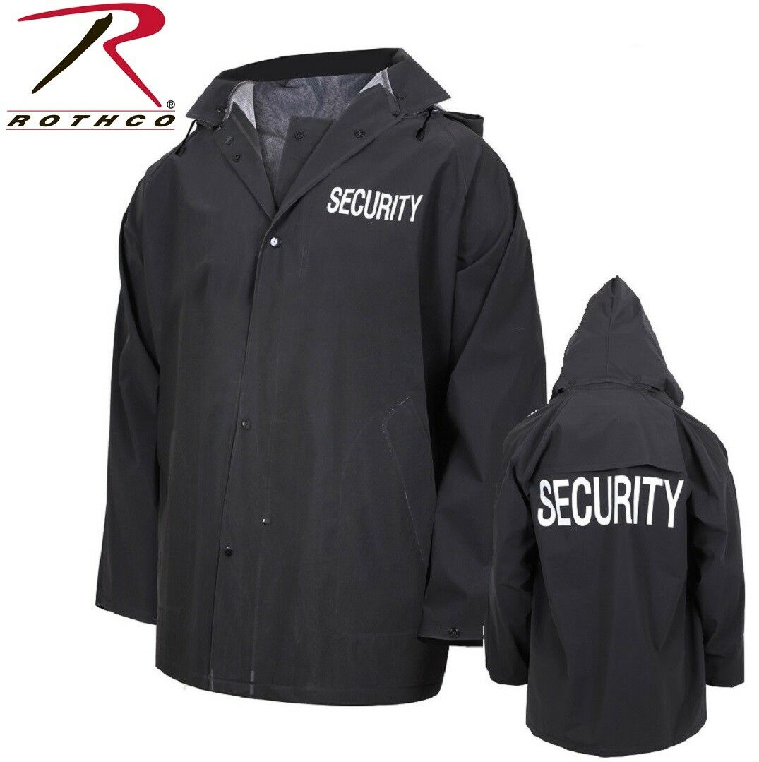 Black Security Guard Security Officer Rain Coat Jacket & Rem