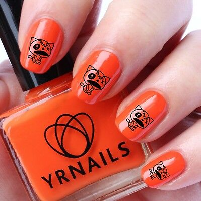 Nail WRAPS Nail Art Water Transfers Decals - Halloween Dead Kitty - H021