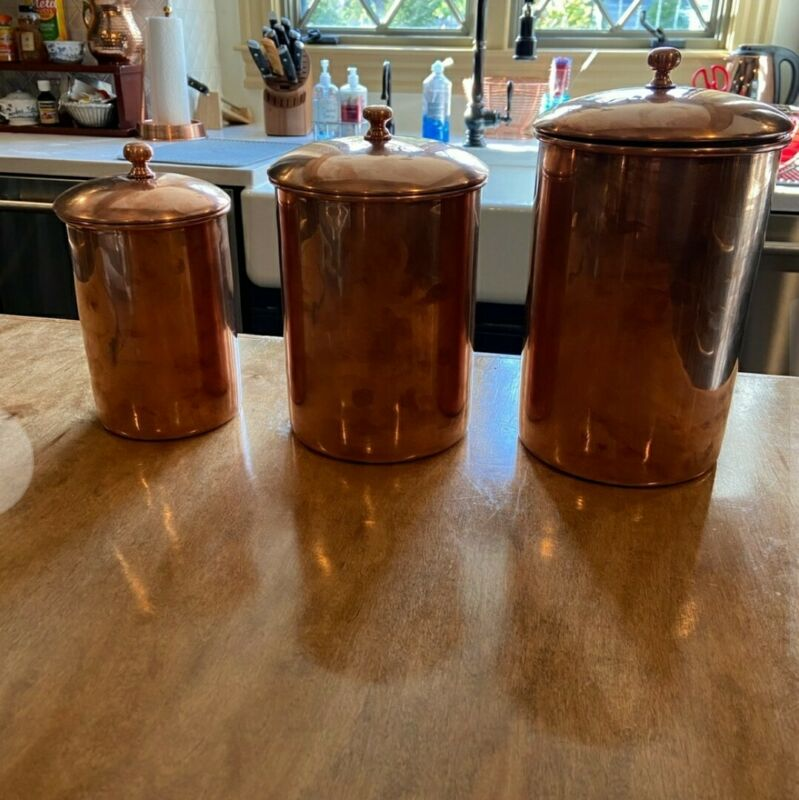 Fantastic Rare Set of 3 William Sonoma Copper Canisters Retail - Great Quality!