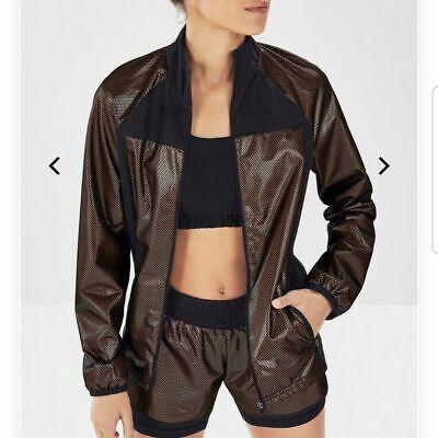 Fabletics Demi Lovato Afina Rose Gold & Black Jacket & Short Set Women's Size M
