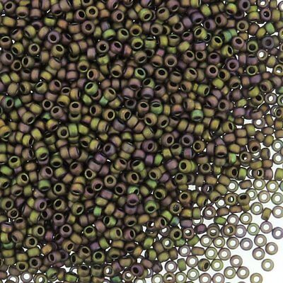 Miyuki Round Seed Beads Size 15/0 Matte Metallic Khaki Iris 8.2g-Tube (15-2035) Miyuki Matte Tube