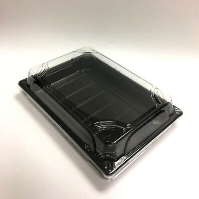 Plastic Take Out Sushi Container With Lid Rectangle Salad Cake Tray 6.5 X 4.5