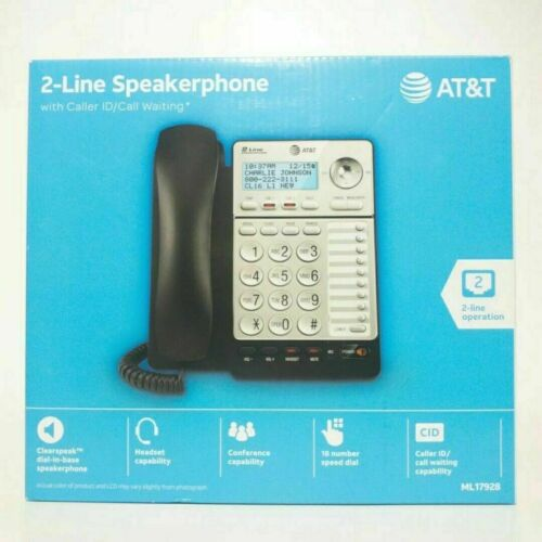 AT&T ML17928 2-Line Speakerphone with Caller ID/Call Waiting Black | Brand New