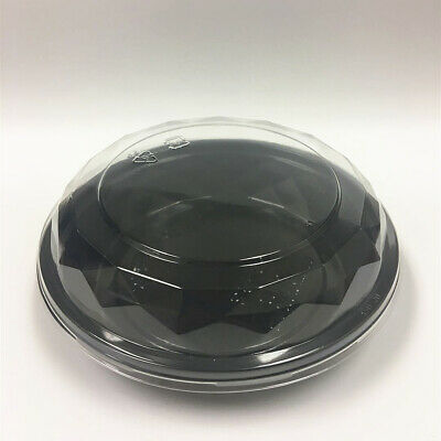 6 Black Take-out Round Cake Box Togo Salad Bowls Plastic Food Container Shallow