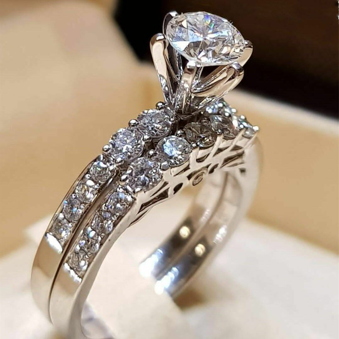 Elegant Women Silver Jewelry Wedding Set Rings White Sapphire Ring