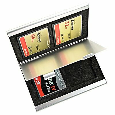 Aluminum Memory Card Carrying Case 4 Slots For Compact Flash Card Lexar Sandisk