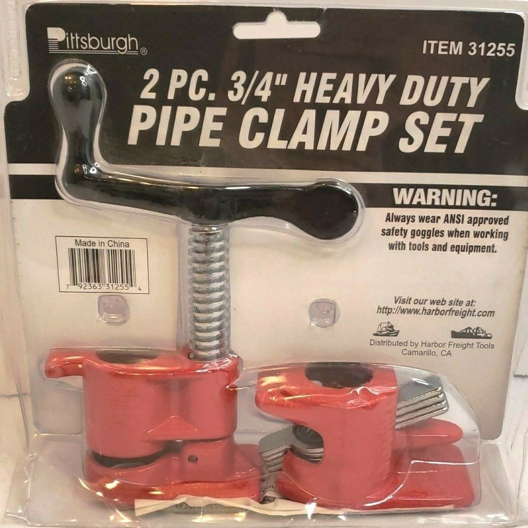 """Pittsburgh 2 Pc 3/4"""" Heavy Duty Pipe Clamp Set ** NEW **"""