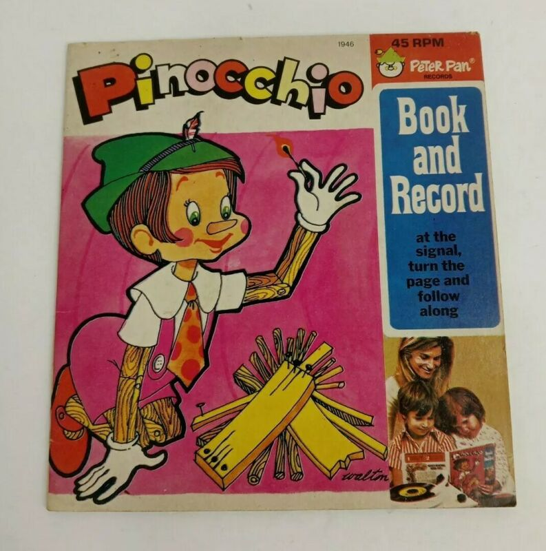 Vintage Pinocchio Peter Pan Book and Recording Record 45 RPM 1946
