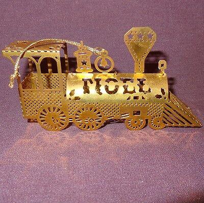 "Vintage Train NOEL Gold Tone Brass Metal Christmas Ornament Locomotive 1983 4"""