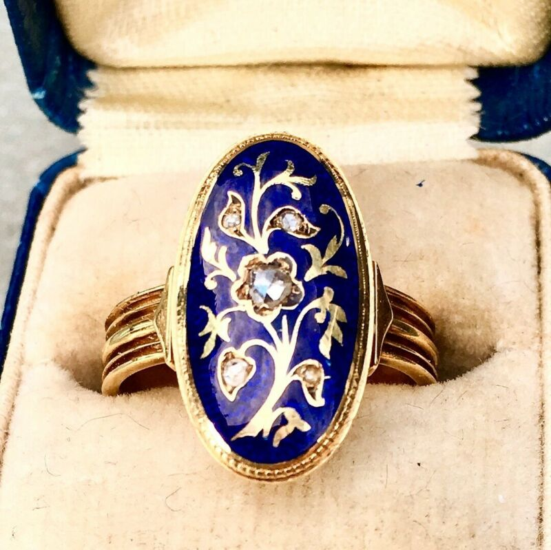 Antique Enamel Diamond GEORGIAN Ring
