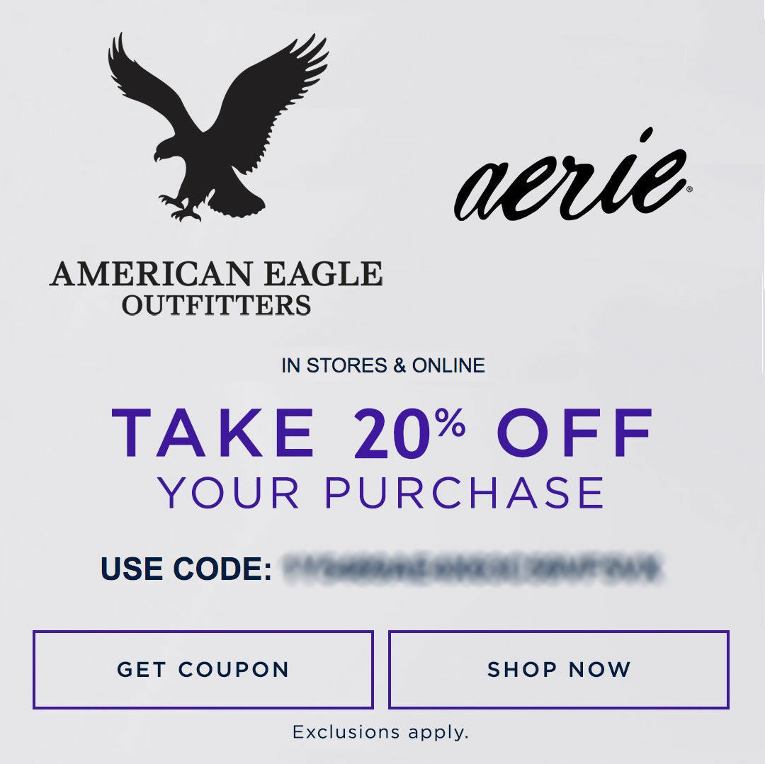 20% OFF American Eagle Outfitters & Aerie Promo-Coupon Code Ex 2/15/18