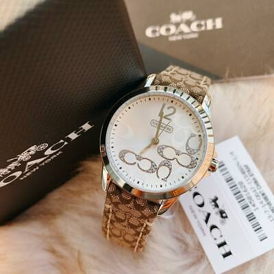 NIB 14501620 AUTHENTIC Coach Boyfriend Signature Fabric Leather White Face Watch