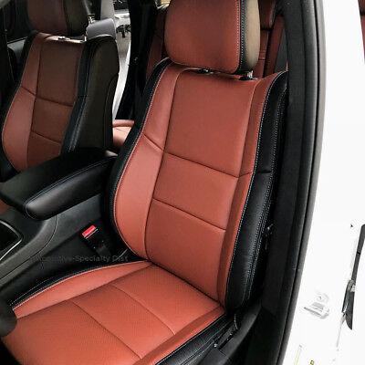 KATZKIN BLK & COGNAC LEATHER SEAT CVRS FITS 2011-2018 JEEP GRAND CHEROKEE LAREDO