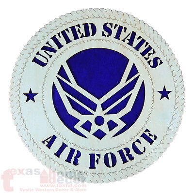 United States Air Force Emblem Wooden Wall Hanging Plaque Sign Military 11 3/4