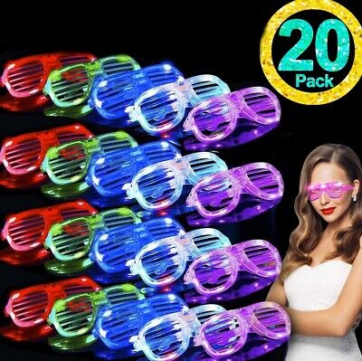 Glow In The Dark Sunglasses Bulk (20 pack Glow in The Dark LED Glasses – Bulk Light Up Glasses, LED)