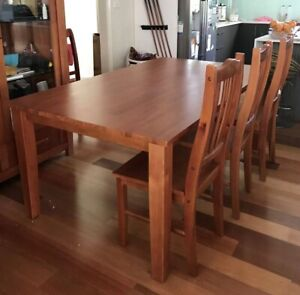 Brand new timber dining set table and six chairs furniture