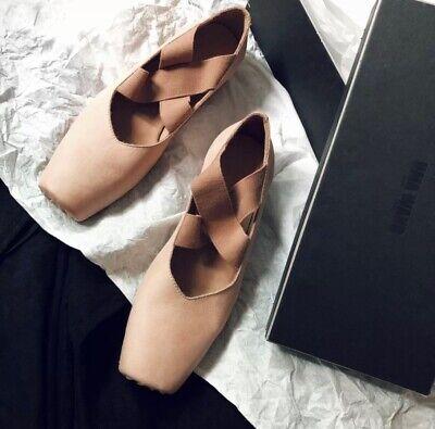 UMA WANG Crossed Strap BallerinasShoes Flats Rose Nude Beige IT37 US7 New
