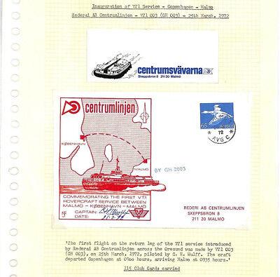 BC258 1972 DENMARK *Inaugural Hovercraft Service* Postcard SIGNED CAPTAIN Scarce