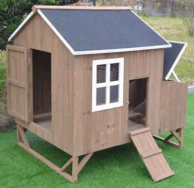 Deluxe Large Wood Chicken Coop Backyard Hen House 4-8 Chickens w 3 nesting box