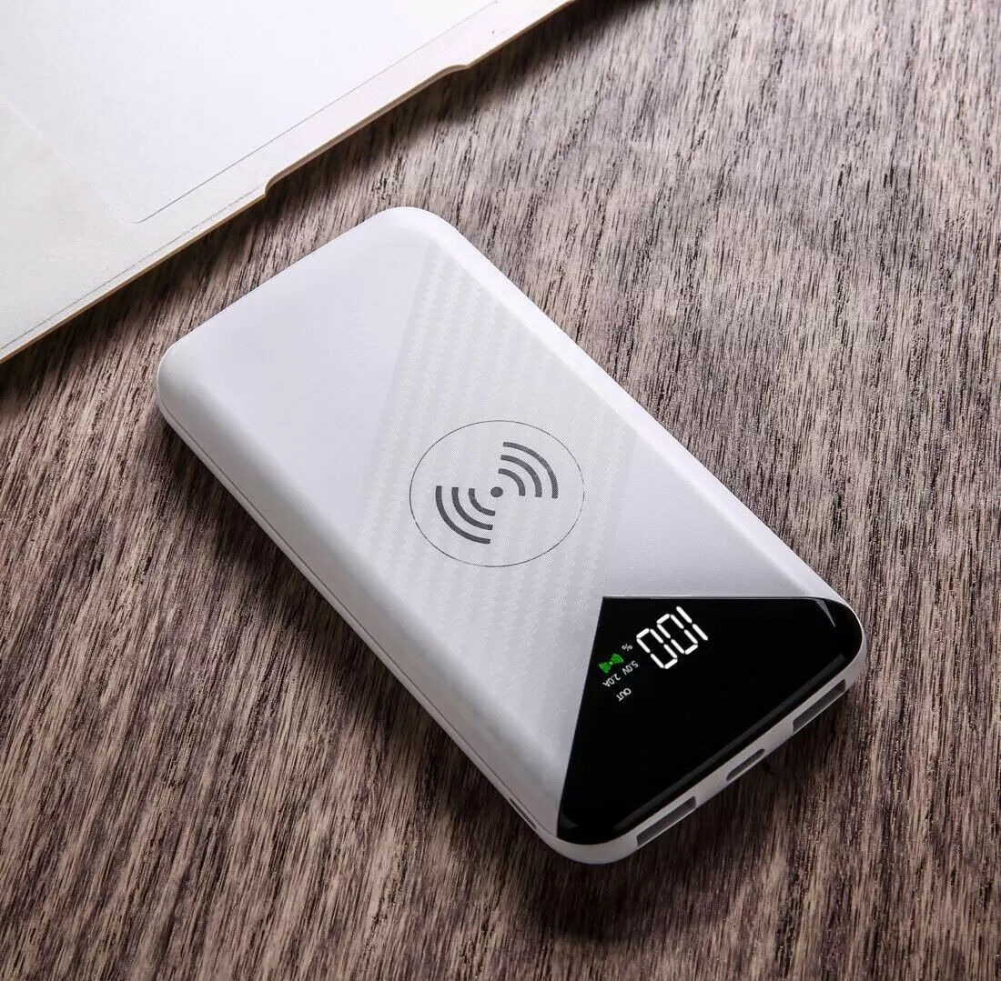 ✅NEW White 2020 Qi Wireless 10000mah Power Bank 2-USB Battery Fast Charger🔥✅🔥✅ Cell Phone Accessories