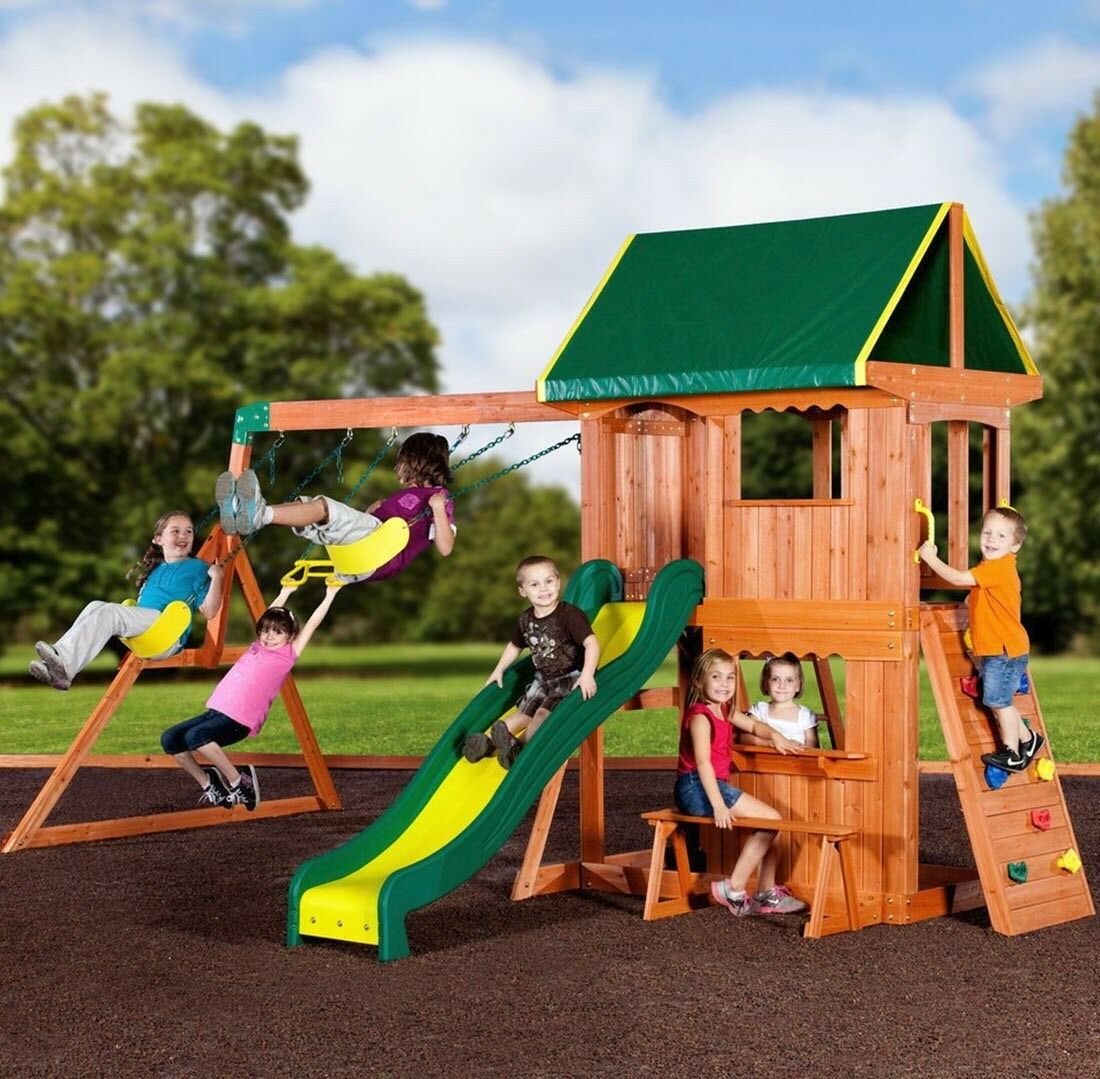 Kids Outdoor Playground Swing Set Playset Wooden Slide Swings