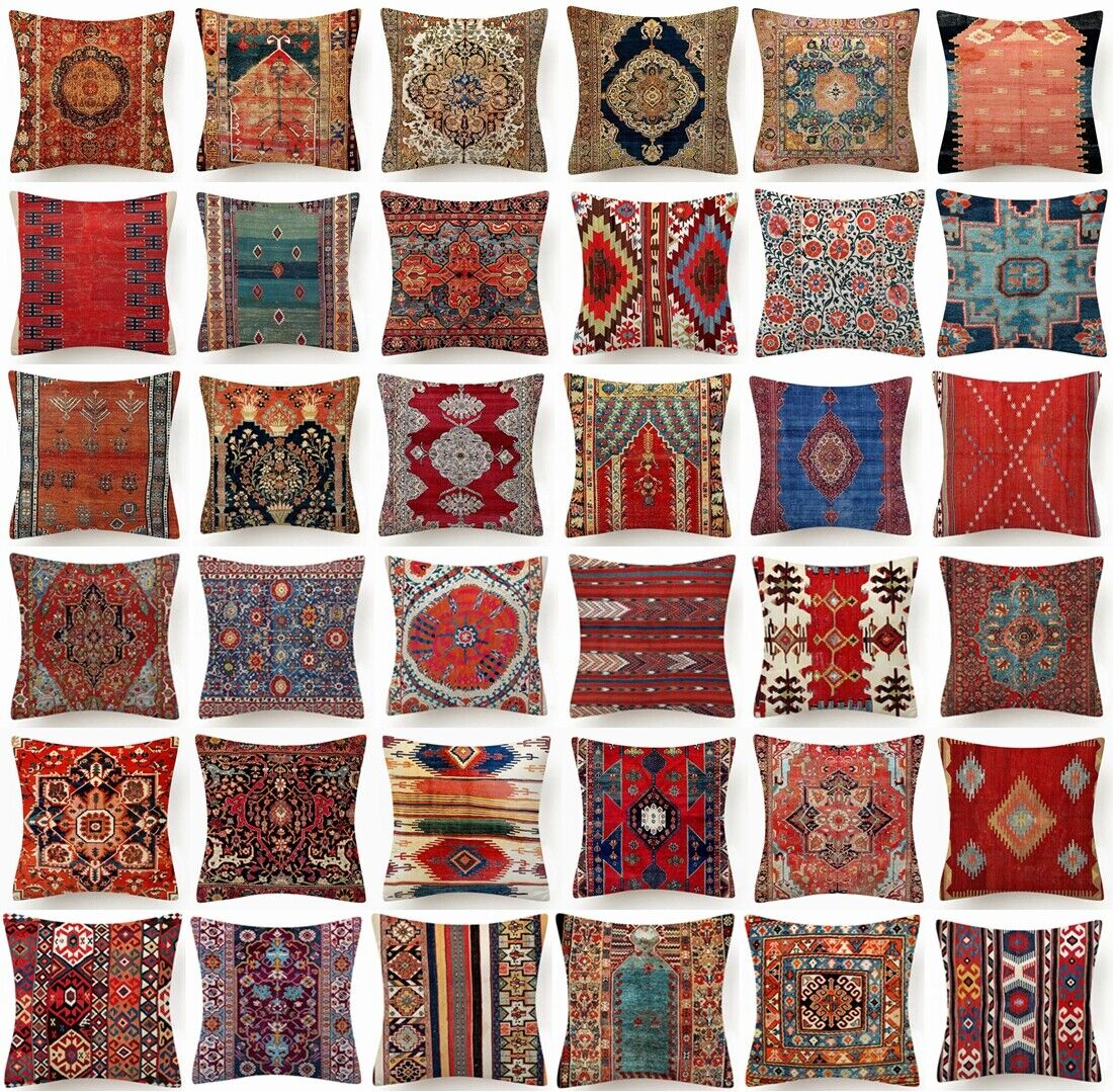"""18x18"""" PILLOW COVER Tapestry Rug DIGITAL PRINT Decorative 2-Sided Cushion Case"""