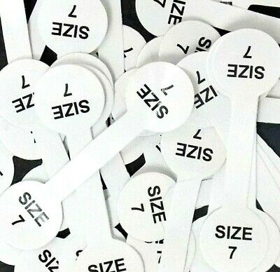 Lot 50 Pc Size 7 Printed Barbell Stick Tags Gummed.ring Jewelry Display Usa Fast