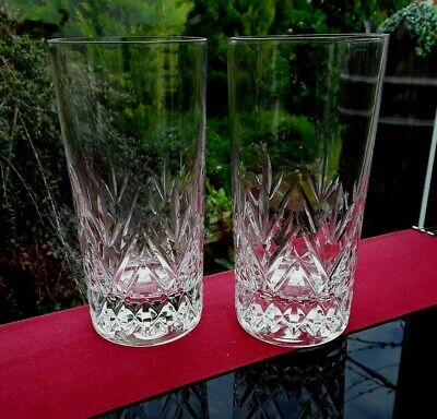 Set of 2 HEAVY VINTAGE GIN & tonic GLASSES Chateau Tumbler Whiskey BAILEYS WATER