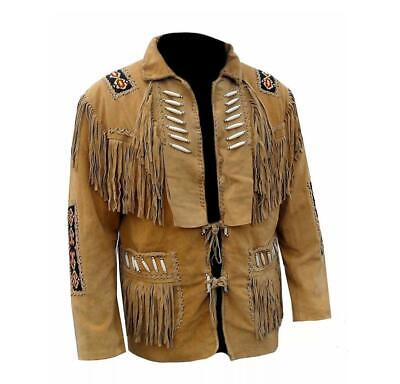Womens Cowboy Jacket Brown Suede Leather Fringe Native American West top