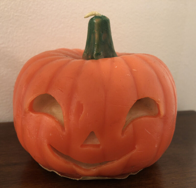 Gurley Pumpkin Candle Smiley Face With Label Never Burned